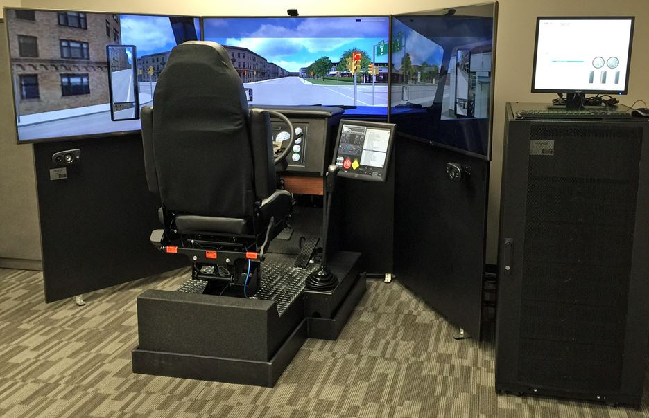 Virage Simulation VS600M truck driving simulator located at the Edmonton office.